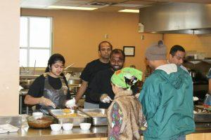 Serving Lunch at Hindu Mandir